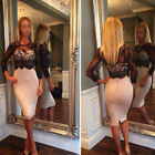 Sexy Womens Lace Prom Slim Bodycon Party Cocktail Evening Pencil Dress Size 6-12