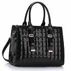 Patent Faux Leather Handbag Tote Bag Black Navy Nude Red White