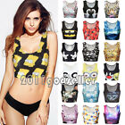 Sexy Womens Sleeveless Crop Tops 3D Print Midriff T-shirt Vest Blouse Tank Tee