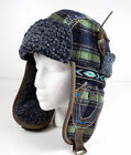 True Religion Jeans Hat cap Wooley Helmet trapper Green plaid leather TR1531