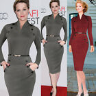 Womens Office Lady OL Long Sleeve Work Evening Party Slim Bodycon Pencil Dresses