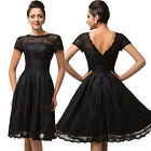 50s Inspired Short Sleeve Black LACE Bombshell PINUP ILLUSION Dress Knee Length