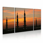 Silhouette of Prophet's Mosque Islamic Religion Wall Art Print Canvas ~ 3 Panels