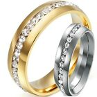 Size 5-15 18K Gold Plated Stainless Steel Ring Band Wedding Engagement CZ Filled