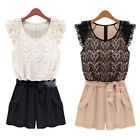 Womens Lace Chiffon Playsuit Sleeveless Bodycon Party Jumpsuit&Romper Trousers