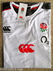 M XXL 4XL ENGLAND RUGBY 2015 TRAINING T SHIRT WHITE Cotton Canterbury New