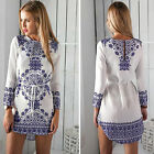 2015 New Womens Summer Sexy Long Sleeve Party Evening Cocktail Casual Mini Dress