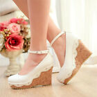 Luxury Elegant Princess Lace High Heels Wedge Mary Janes Women   Wedding Shoes