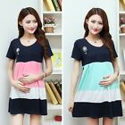 New Pregnant Dress Women Multicolor Cotton T-shirt Dress Maternity Blouse