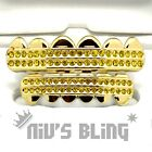 14k Gold ICED OUT GRILLZ Yellow CZ LEMONADE Tooth Mouth Teeth Caps HipHop Grills