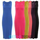 WOMENS CASUAL PLAIN RACER BACK MIDI DRESS LADIES JERSEY STRETCH BODYCON DRESS