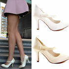 Womens Ladies Satin Wedding Bridal Bridesmaid Prom Party Court Shoes Heels Size