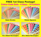 6mm Circles 10mm Squares - Colour Code Dots Blank Price Stickers Sticky Labels