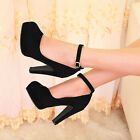 UK C8 Womens Ankle Strap Buckle High Heels Suede Leather Fashion Platform Pumps