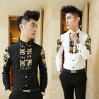 New Korean Men's Long Sleeve Stitching Slim Fit Palace Style Casual Shirts US MO