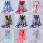 """New Women's Multi-Color Real 100% Silk Long Scarf Shawl Wrap """"Floral"""" Print"""