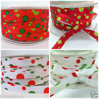 PER metre Christmas bubbles grosgrain ribbon red/green, white/red 10mm