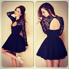 Womens Floral Long Sleeve Lace Backless Evening Party Black Mini Dress EW W