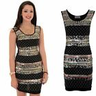 Womens Sleeveless Sequin Shiny Aztec Print Party Smart Mini Bodycon Dress