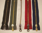 "5 - 6"" Brown- Olive- Off White- Red- Navy #5 YKK Closed End Metal Teeth Zippers"