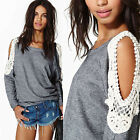 Women's Loose Long Sleeve Cocktial Casual Blouse Shirt Tops Blouse lace
