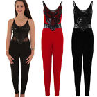 Womens V Neck Sleeveless Lace Insert Flower Sequin All In One Jumpsuit