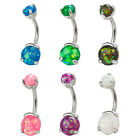 Bold Steel Created-Opal Navel Curve Barbell Belly Button Jewelry Stainless Steel
