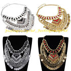 Vintage Tribal Gold Silver Chain Resin Statement Chunky Choker Pendant Necklace
