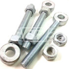 "ADJUSTABLE GATE HINGES EYE BOLTS 12mm x 150mm (6"")  LONG THREAD 19mm PIN BZP"