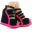 Sexy Black Pink Peep Toe Buckle Strappy Wedge Platform Sandals Size 4/5/6/7/8/9