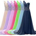 BEADED SEXY Chiffon Long WEDDING Bridesmaid Prom Evening Gown Formal Party Dress