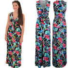 Womens Plunge Low V Neck Sleeveless Knot Front Sexy Floral Boho Maxi Dress