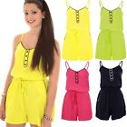 Womens Strappy Sleeveless Gathered Pom Tie Waist Cami Casual Playsuit Romper