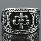 Men's Stainless Steel Cross Crucifix Rood Embossed Totem Biker Ring Size 8-13
