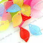69pcs Wholesale Acrylic Plastic Beads Leaf Shape Jewelry Findings Lots 18x11x3mm