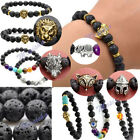 Mens Lava Rock Buddha Head Hamsa Hand Evil Eye Elastic Rock Bracelet Bangle Gift