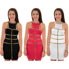 Women's Gold Panel Contrast Mesh Insert Sleeveless Short Ladies Bodycon Dress