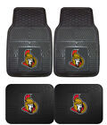 Ottawa Senators Car Mats 4 Pc Front & Rear Heavy Duty Vinyl