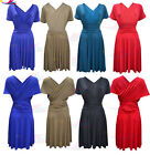 Womens girls V Neck Front Top lot WRAP MIDI DRESS Cap Sleeve Pleated Skirt Party