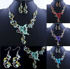 Butterfly Flower Crystal Necklace Earrings Party Wedding Statement Jewelry Set