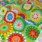 PER FQ/1/2 metre Vintage 60's funky green print dressmaking/craft cotton fabric