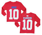 NFL Kids New York Giants Eli Manning #10 Long Sleeve Mainliner Shirt, Red