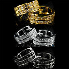 18k Gold Silver Black CZ Iced Out Huggie Women Men HOOP HipHop Leverback EARRING