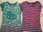 HELLO KITTY Girls L or XL Purple Green Choice Short Sleeve Cotton Shirt NWT