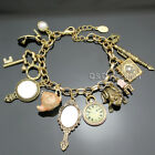 Charms Fairytale Cinderella Alice in Wonderland Narnia Chain Bangle Bracelet C8