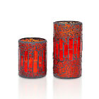 Flameless Crack Mosaic Glass Wax LED Candle with Timer Retro Home Party Decor