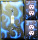 Blue Flames custom Light Switch, outlets and wall plate covers room decor