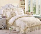 Beige Princess Soft Bedding Duvet Cover And 2 Pillowcases Set Or Flat