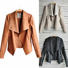 Women Zip Faux PU Leather Biker Jacket Slim Thin Lapel Coat Blazer Outwear S-4XL