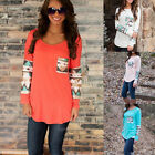 UK Ladies Fashion Long Sleeve Crew Neck Tops Summer Casual Shirt Tops Blouse